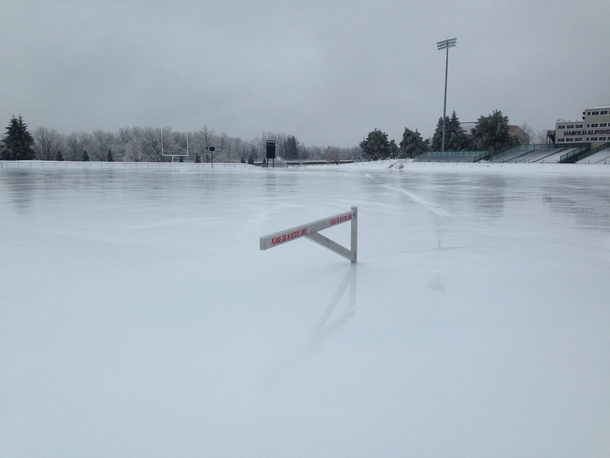 So this is what Colby Colleges outdoor track looks like right now after being covered in ice
