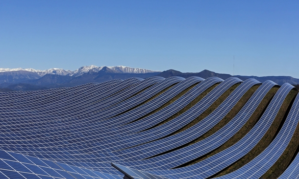 Solar panels line up at a photovoltaic park in Les Mees France