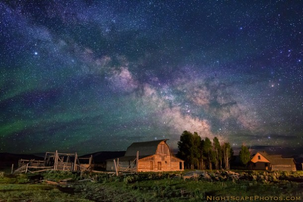 Stars over Moulten Homestead Grand Teton National Park