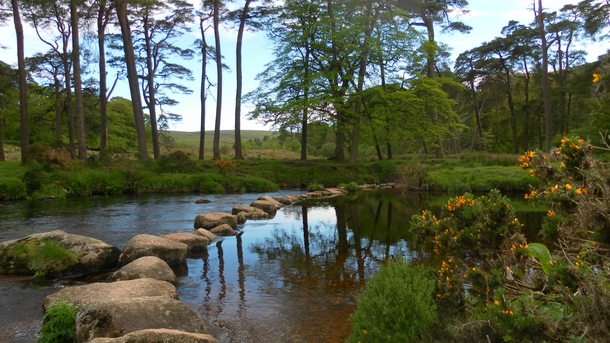 Stepping Stones across West Dart River Dartmoor Devon UK OC