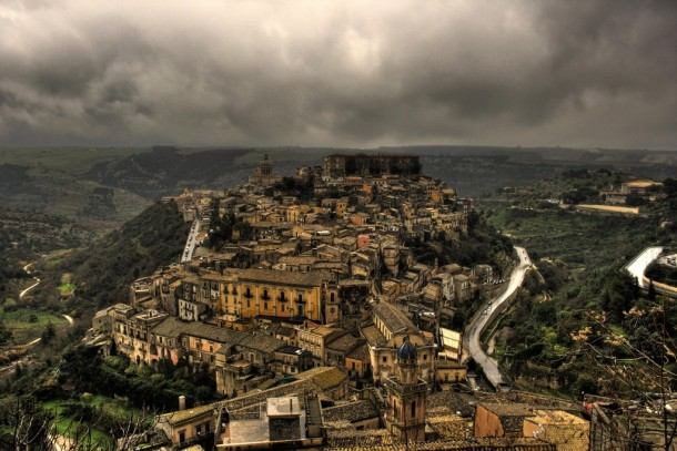 Storm brewing over Ragusa Ibla Sicily Italy