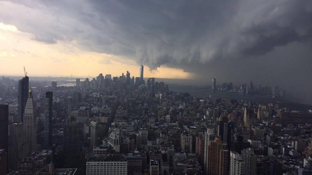 Storm brewing today in NYC View from the th floor of the Empire State Building