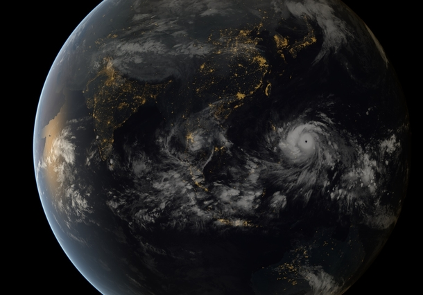 Stunning Satellite Image taken from Geostationary Orbit of one of the Strongest Storms Ever Recorded Typhoon Haiyan