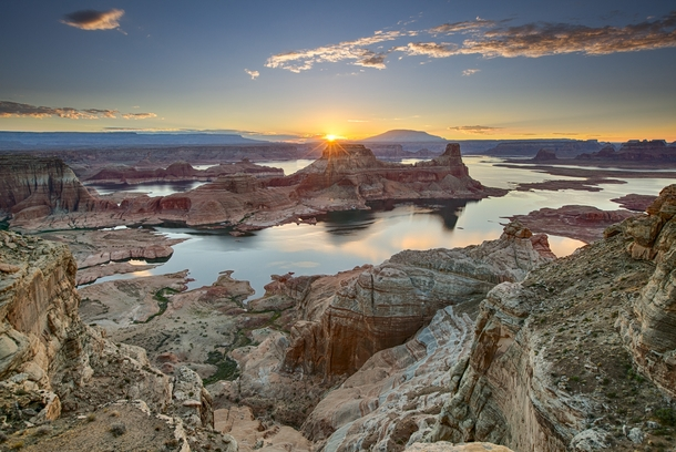 Sunrise at Gunsight Bay Utah Shot from our campground at Alstrom Point right above Lake Powell  By Joaquin Baldwin