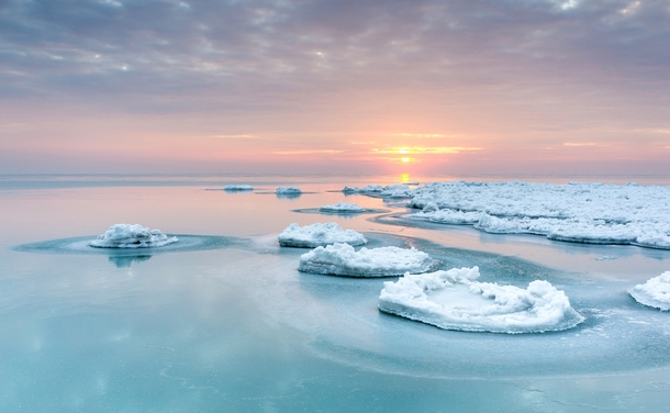 Sunrise on a frozen Lake Michigan Chicago