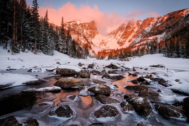Sunrise over the partially frozen outlet of Dream Lake  ft in Rocky Mountain National Park OC