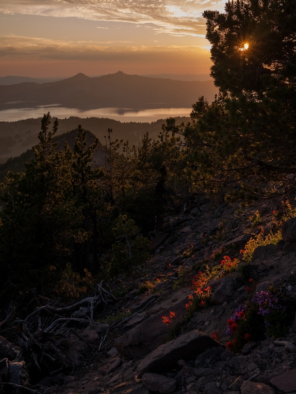 Sunset above Crater Lake OR