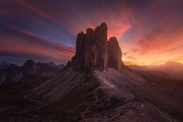 Sunset at an iconic location in the Dolomites of Tre Cime di Lavaredo Province of Belluno Italy by Albert Dros