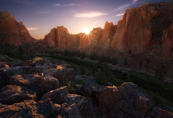 Sunset at Smith Rock Oregon - My first stop on a recent solo motorcyclecamping trip all throughout Oregon