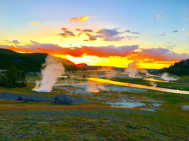 Sunset in boiling Yellowstone NP OC