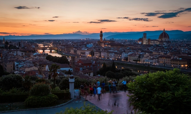 Sunset in Florence Italy from Piazzale Michelangelo
