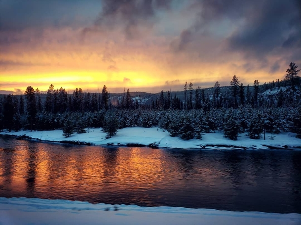 Sunset In The Winter Time In Yellowstone National Park