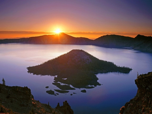 Sunset over Crater Lake Oregon