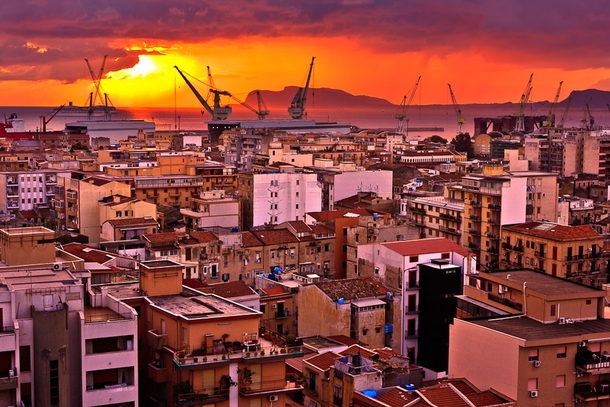 Sunset over Palermo Sicily