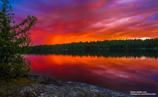 Sunset over the Boundary Waters Minnesota