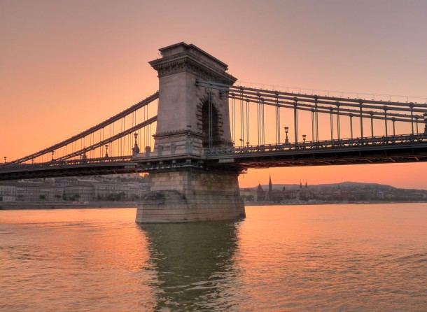 Sunset over the Danube - Szchenyi Chain Bridge Budapest Hungary