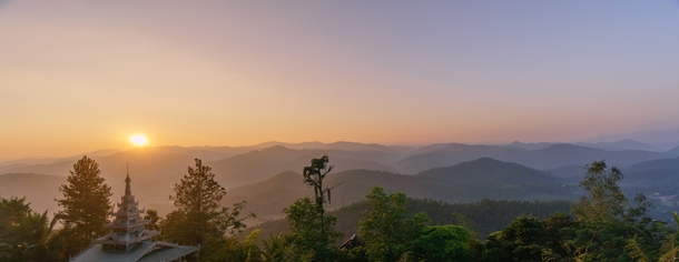 Sunset over the mountains of Northwest Thailand Mae Hong Son