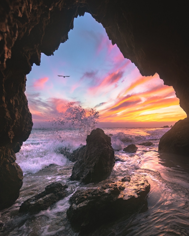 Sunsets best spent down in a sea cave Los Angeles CA   Insta worldpins