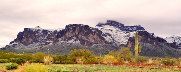 Superstition Mountain Arizona after unusual snow storm