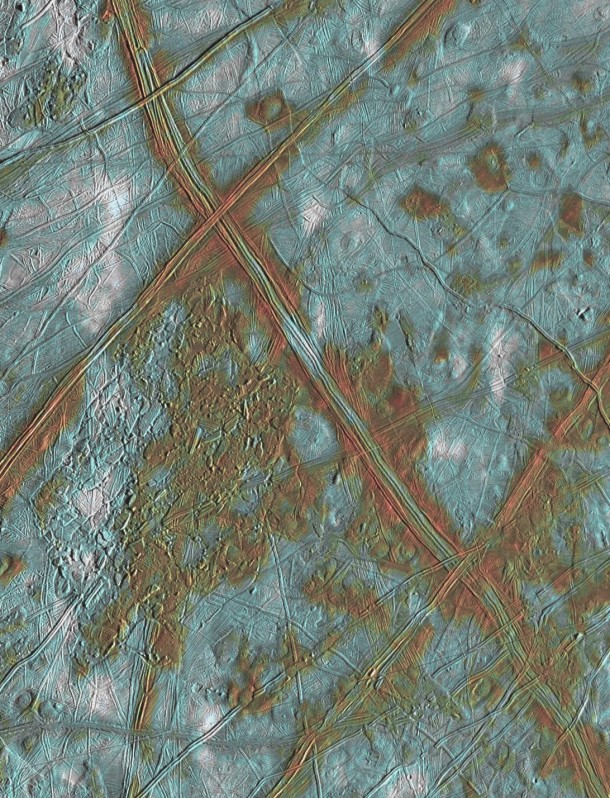 Surface detail on Europa with shattered ice surface and refreezing