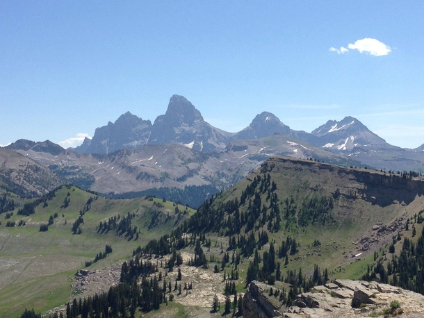 Teton Mountains as seen from Targhee National Forest west side  x