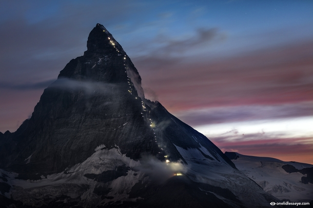 th Anniversary of the first Matterhorn Ascent Beautifully lit by a string of lanterns