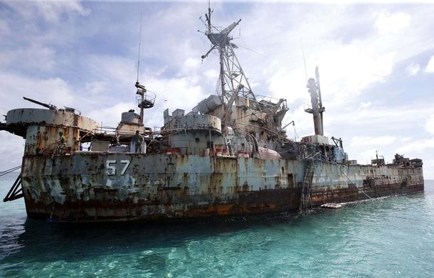 That abandoned look BRP Sierra Madre stands watch  x  while aground on Ayungin Shoal to maintain the Philippines territorial claim in the area Originally USS Harnett County LST- Image credit Chiara Zambrano ABS-CBN News