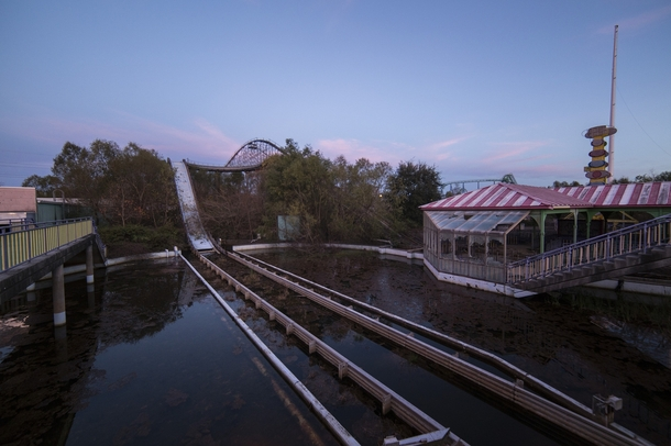 The abandoned splash boats ride at Six Flags New Orleans