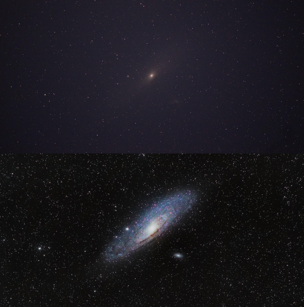 The Andromeda Galaxy single exposure vs final image