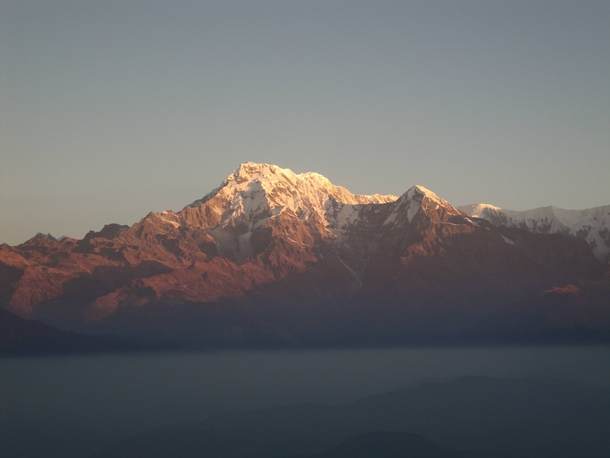 The Annapurna Dakshin at sunrise view from an old watchtower near Pokhara Nepal