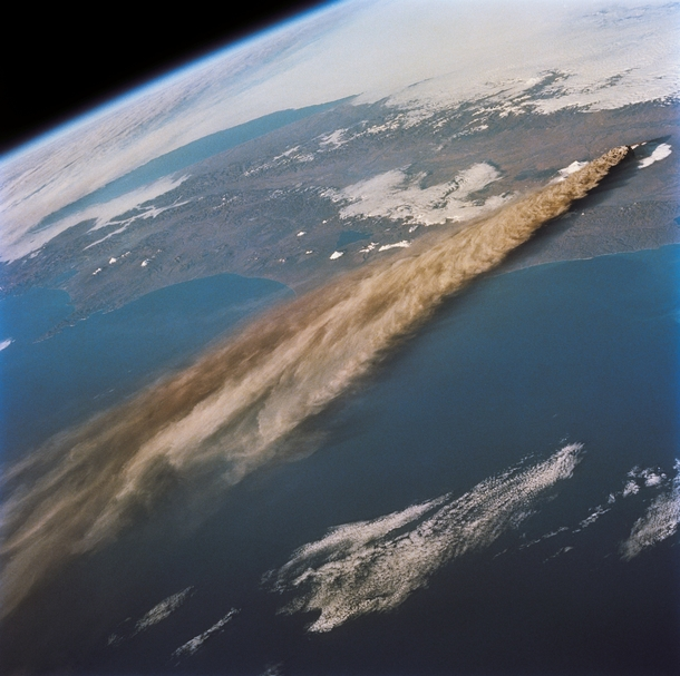 The ash plume from the eruption of the Kliuchevskoi Volcano in the Kamchatka peninsula seen from the Space Shuttle Endeavour in Oct  -