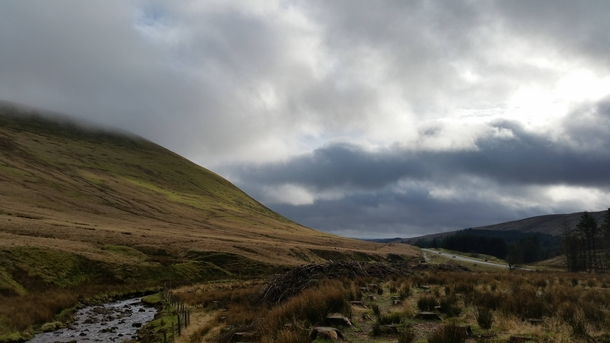 The beautiful yet gloomy view of Pen Y Fan Mountain Wales