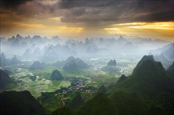The beauty of Yangshuo China as seen from a hot air balloon