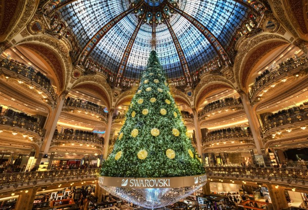 The biggest Christmas tree Ive seen - inside a building in Paris ...