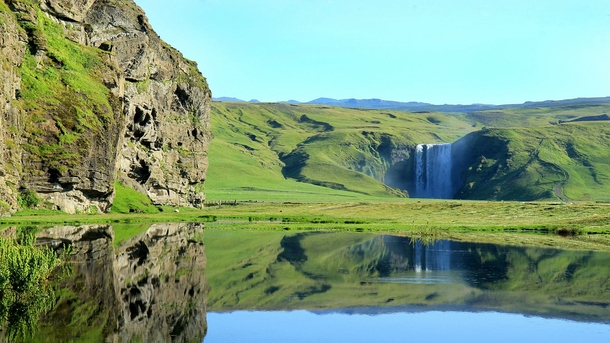 The breathtaking Skogafoss Falls in Iceland