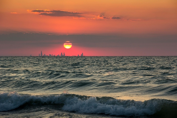 The Chicago skyline seen from a beach in Indiana  x-post rpics