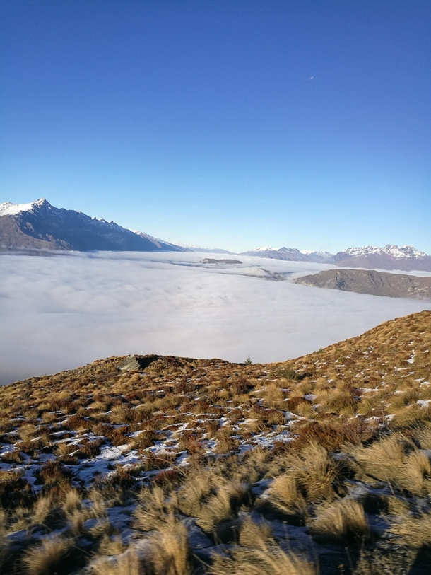 The cloud cover on the way up the mountain was amazing Coronet Peak New Zealand