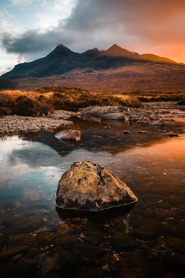 The Cuillin mountains reflected in the Sligachan river Isle of Skye  IG dom_reardon_photo