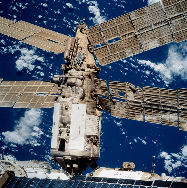 The damaged solar arrays of the Spektr module of the Mir space station after an unmanned Progress spacecraft hit the station during a manual docking test in  The Progress ship punctured the module which had to be permanently sealed off