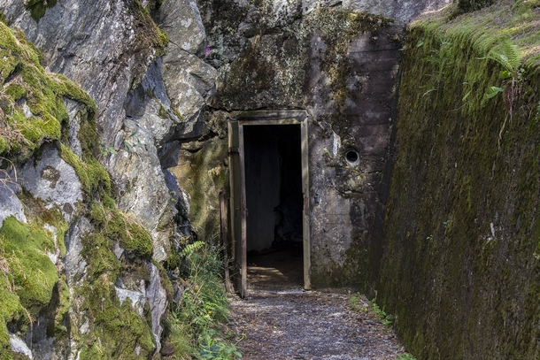 The entrance for a  year old abandoned norwegian bunker