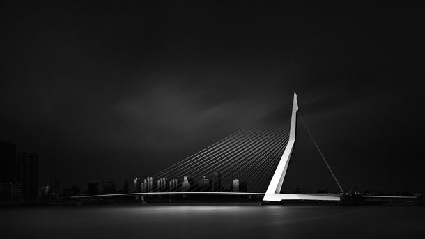 The Erasmus Bridge in the center of Rotterdam Netherlands NL
