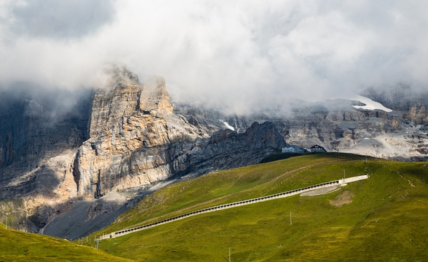 The exposed section of the Jungfrau Railway After reaching the Eigergletscher station here the line burrows km straight through the mountain itself reaching the Jungfraujoch observatory on the other side  Nathan Yan