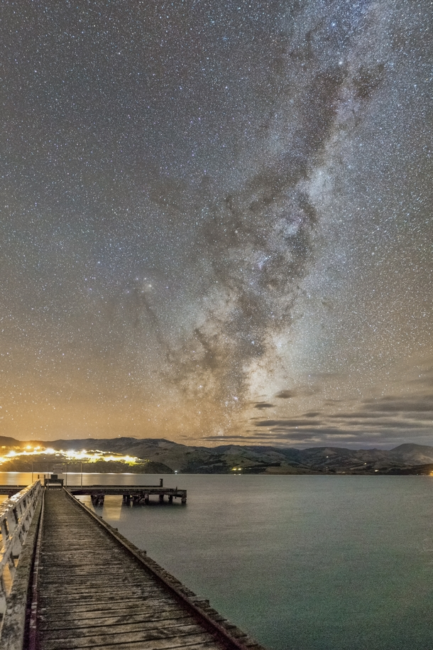 The galactic core rising over Banks Peninsula Canterbury New Zealand