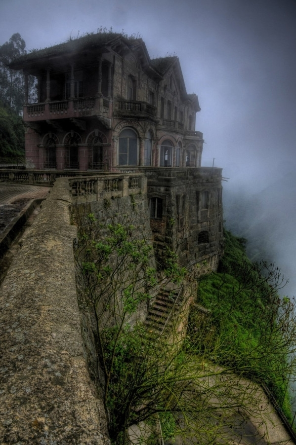 The Hotel del Salto in the Tuquendama Falls area of Colombia Since being abandoned building has since been the site of a number of suicides and the hotel is now rumored to be haunted