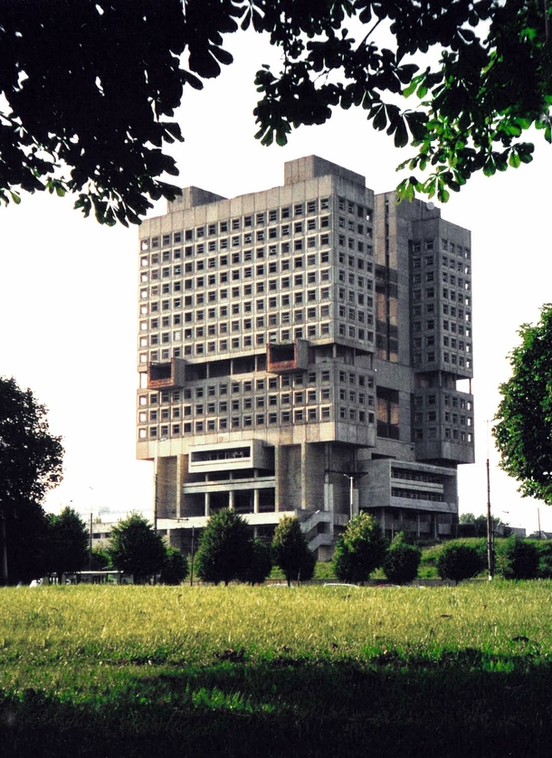 The House of the Soviets in Kaliningrad Russia Nicknamed buried robot the brutalist structure looks like the head of a giant robot buried in the ground