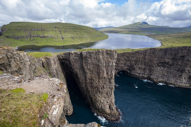 The impossible looking Lake Sorvagsvatn Faroe Islands