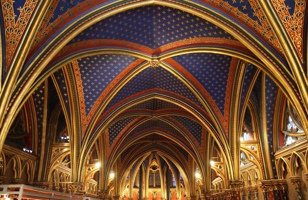 The Interior Of La Sainte Chapelle In Paris France