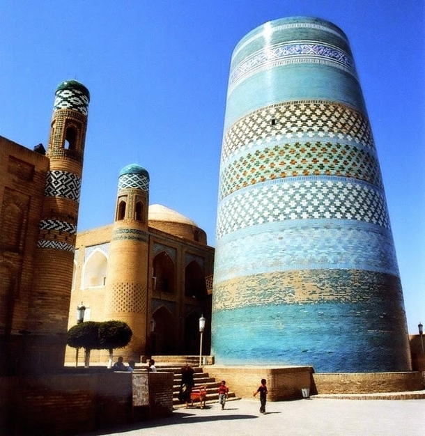 The Kalta Minor a ft unfinished minaret in Khiva Uzbekistan