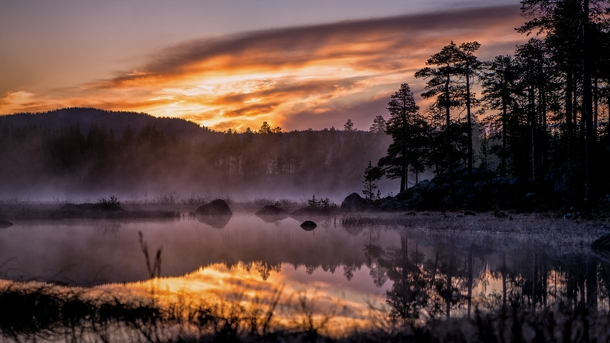 The last sunset before nightless night km above the arctic circle in Inari Finland