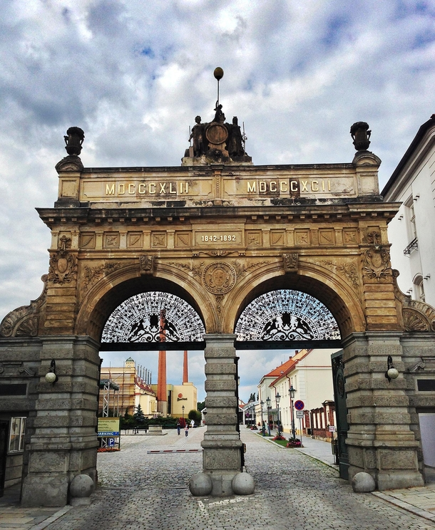 The main gate at the Pilsner Urquell Brewery in Plze Czech Republic
